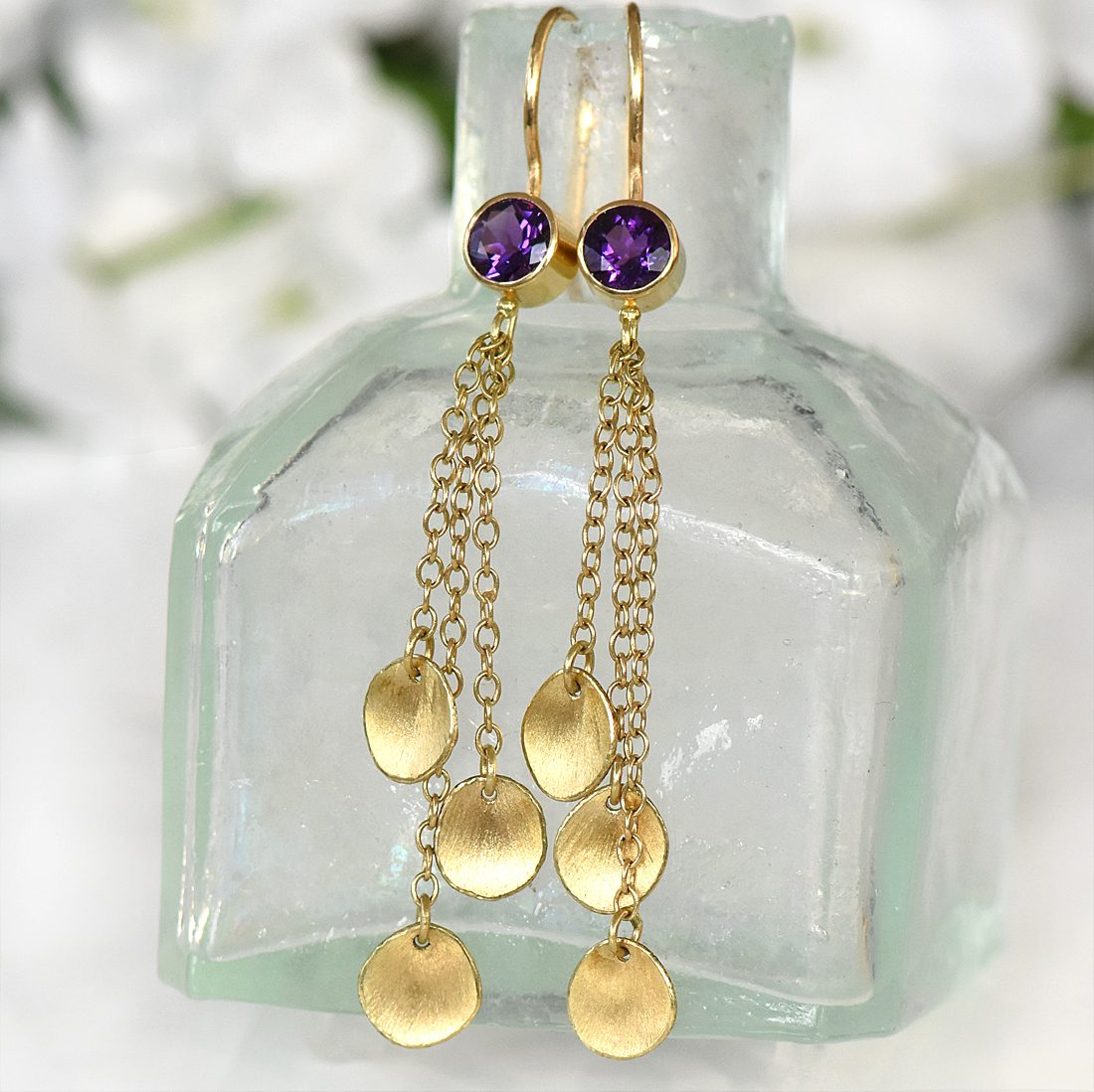amethyst gold petal drop earrings