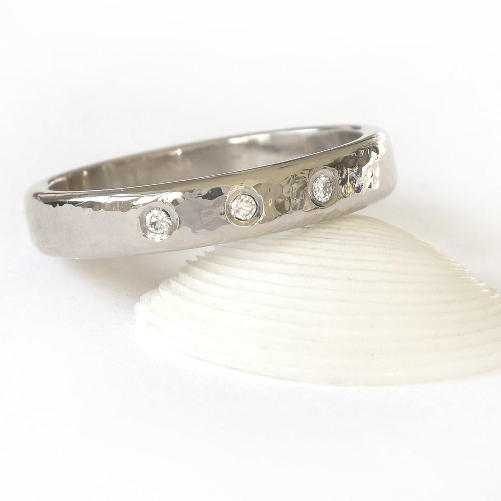 Hammered Diamond Wedding Ring