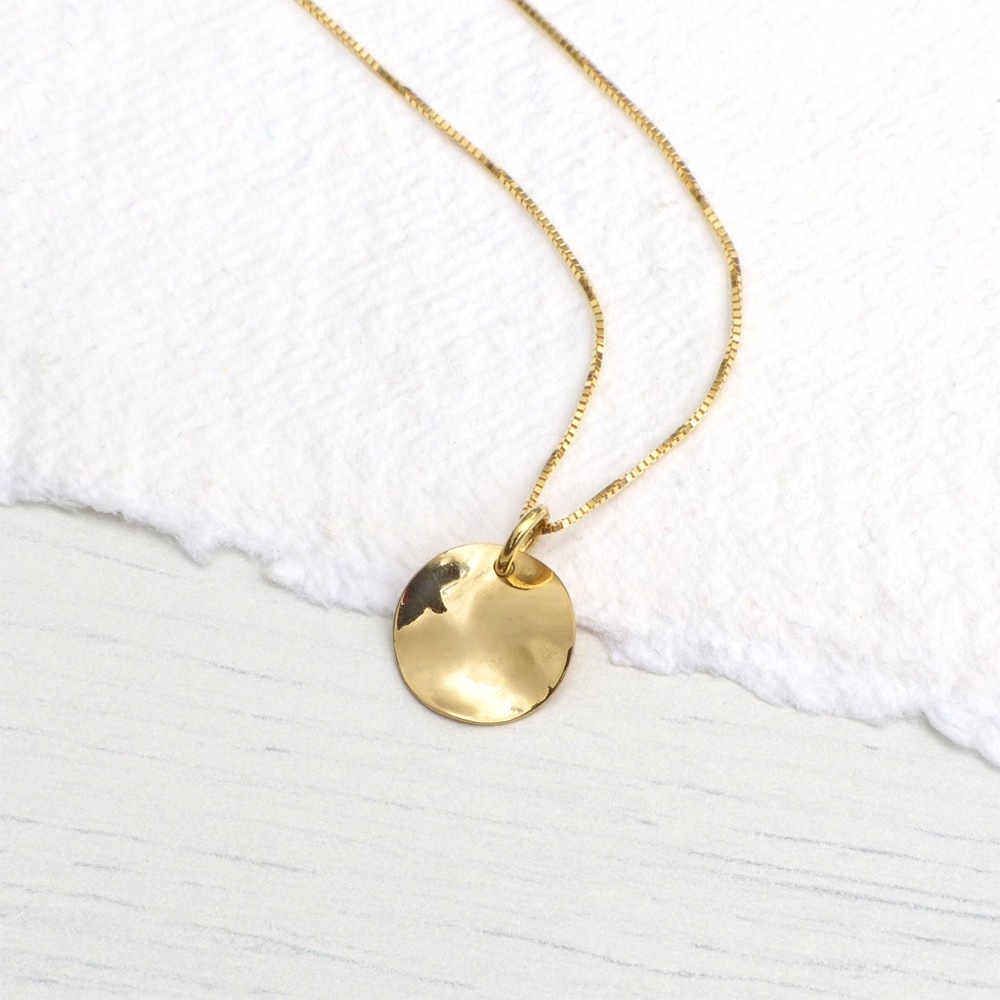 Hammered disc pendant in 18ct yellow gold lilia nash hammered disc pendant aloadofball Gallery