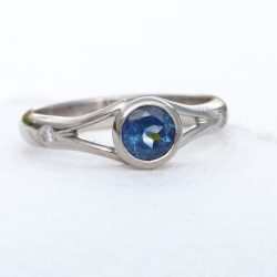 Fair Trade Blue Sapphire and Diamond Ring