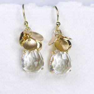White Topaz Petal Earrings