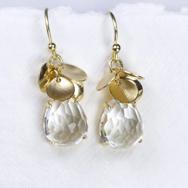 White Topaz Petal Earrings
