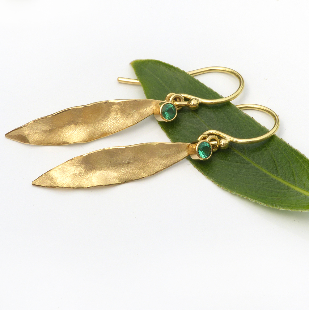 emerald leaf earrings
