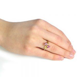 Pink tourmaline ring in moi et toi design