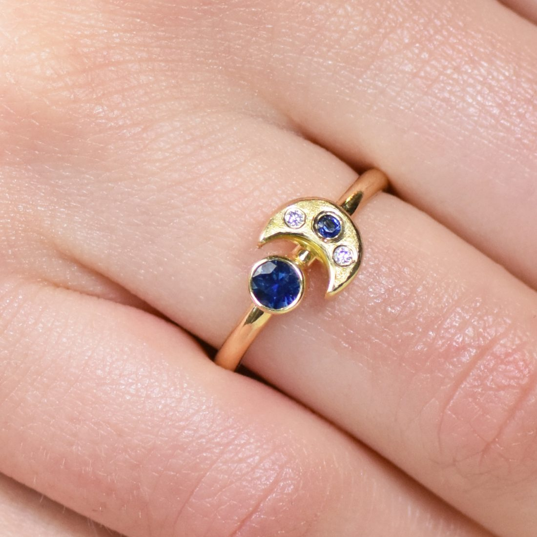 sapphire moon and stars ring