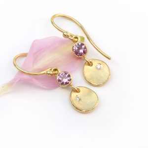 pink sapphire petal earrings in 18ct gold