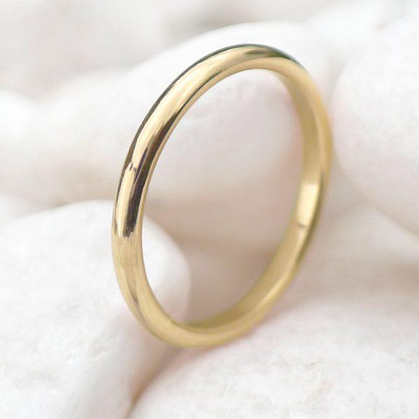 2mm half round wedding ring, 18ct yellow gold
