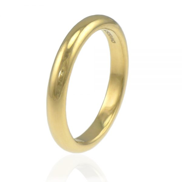 3mm half round wedding ring