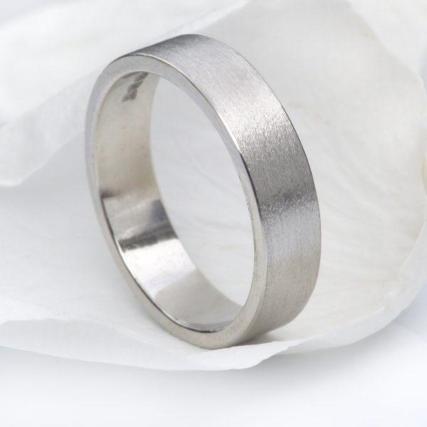 5mm flat platinum wedding ring