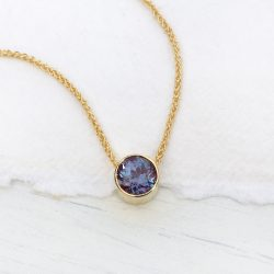 alexandrite necklace in 18ct gold