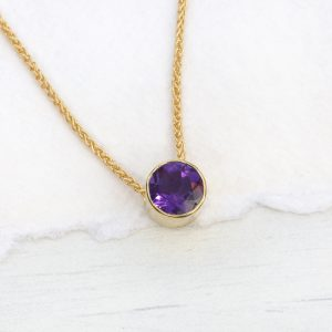 amethyst necklace 18ct gold