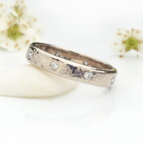 hammered diamond eternity ring