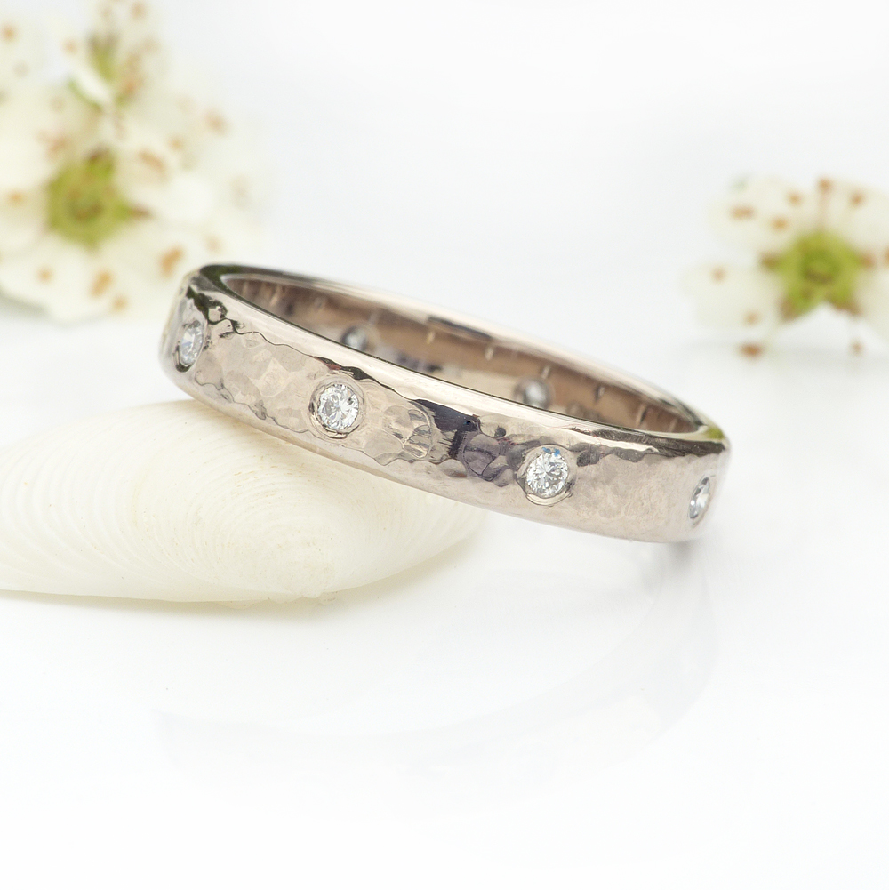 hammered diamond eternity ring