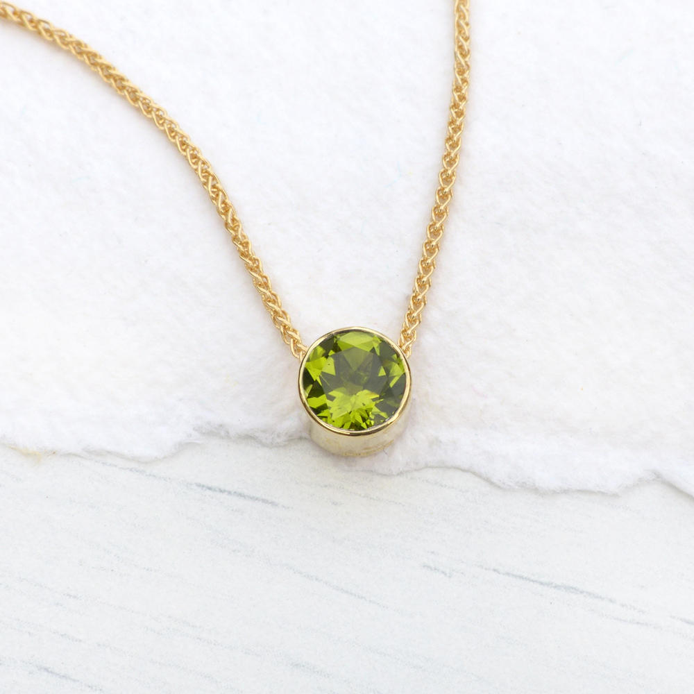 peridot necklace in 18ct gold