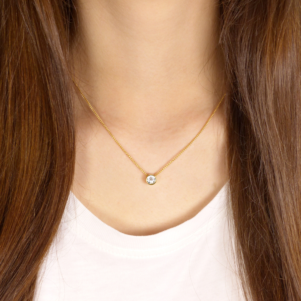 white topaz necklace in 18ct gold