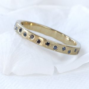 Black Diamond Half Eternity Ring