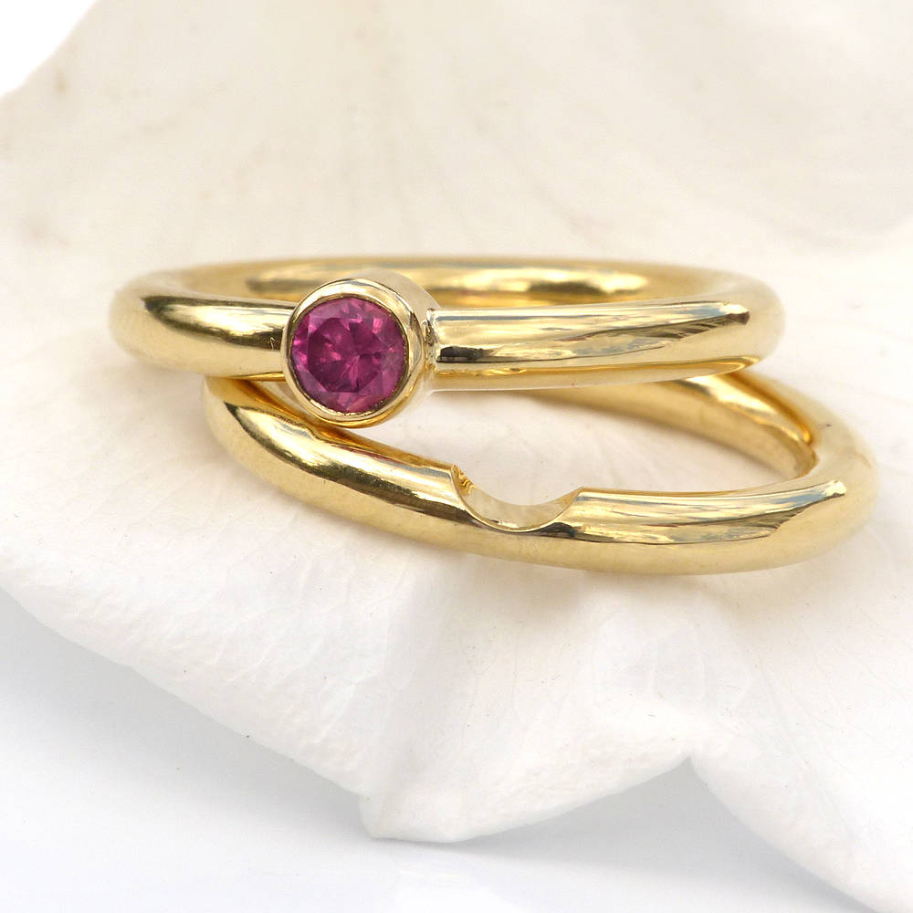 Ruby Engagement Ring Set In 18ct Gold Gemstone Engagement Rings