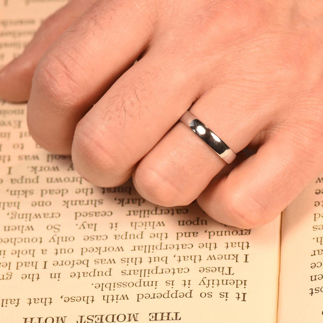 4mm comfort white gold wedding ring