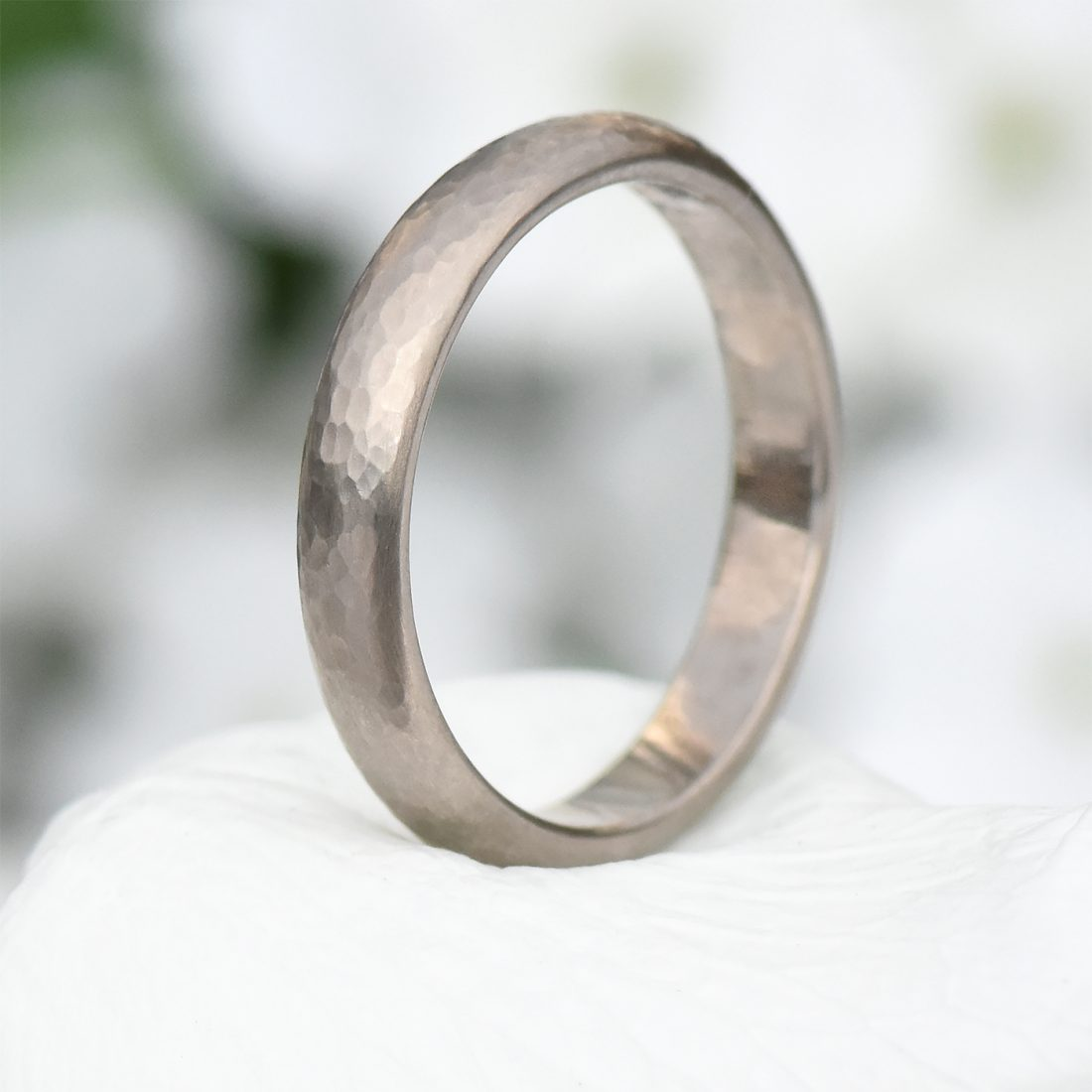 4mm hammered wedding ring in white gold
