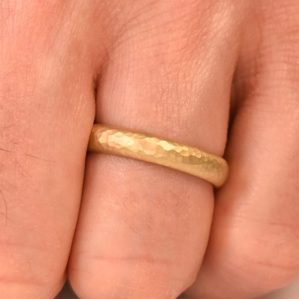 hammered gold wedding ring