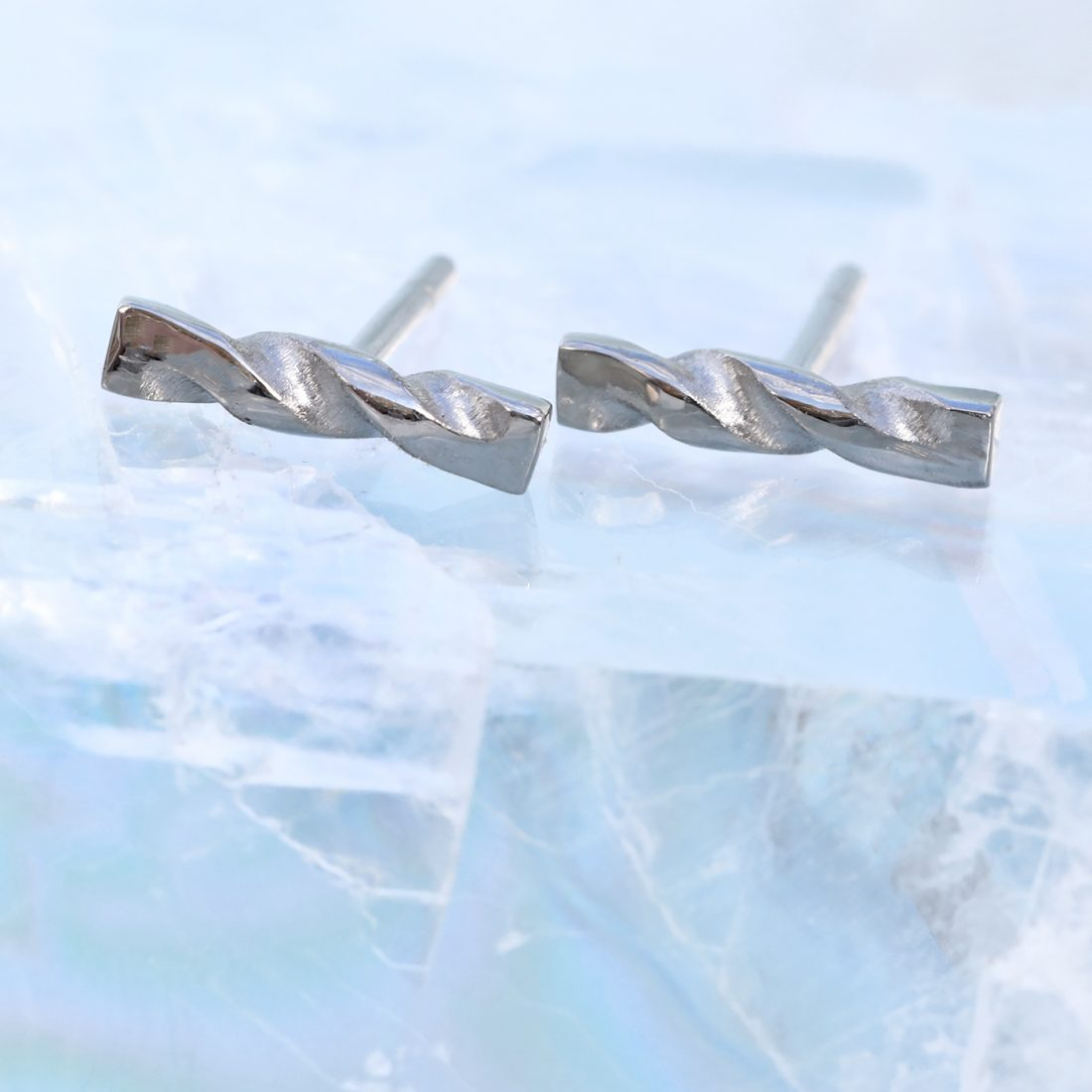 white gold twist studs