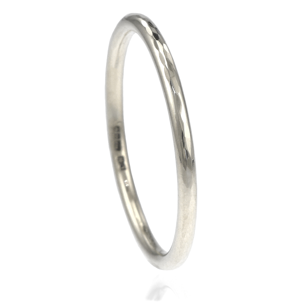 thin hammered platinum ring