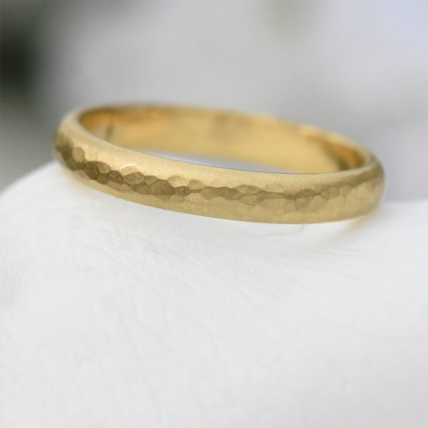 3mm hammered wedding ring
