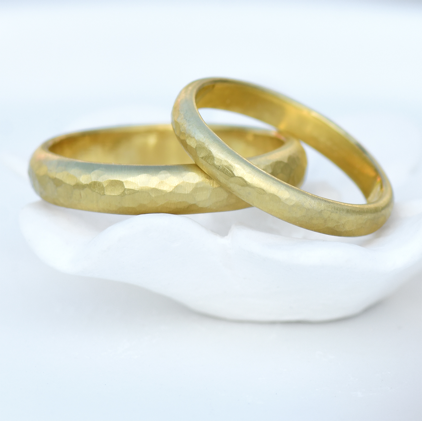 18ct hammered gold wedding rings by Lilia Nash
