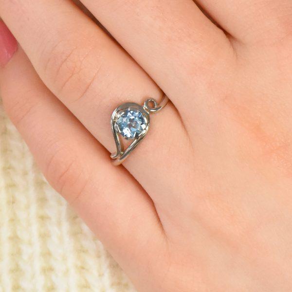 aquamarine art nouveau ring