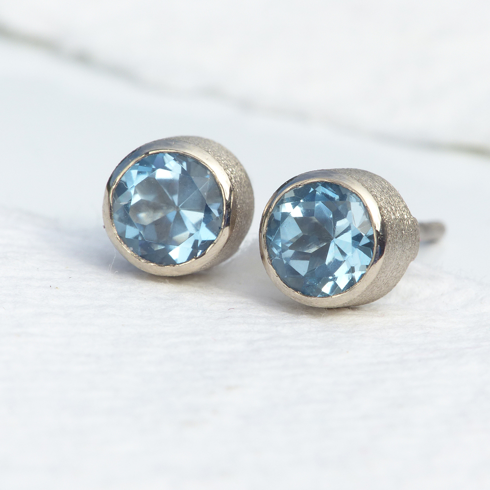 aqua stud ctw gold earrings marine aquamarine qp in white