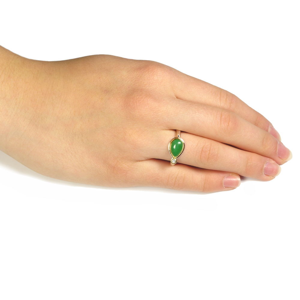 chrysoprase diamond ring