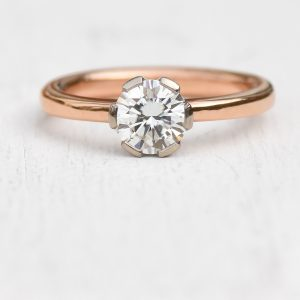 moissanite ring in rose gold