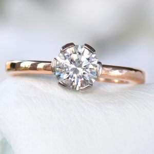moissanite engagement ring in rose gold