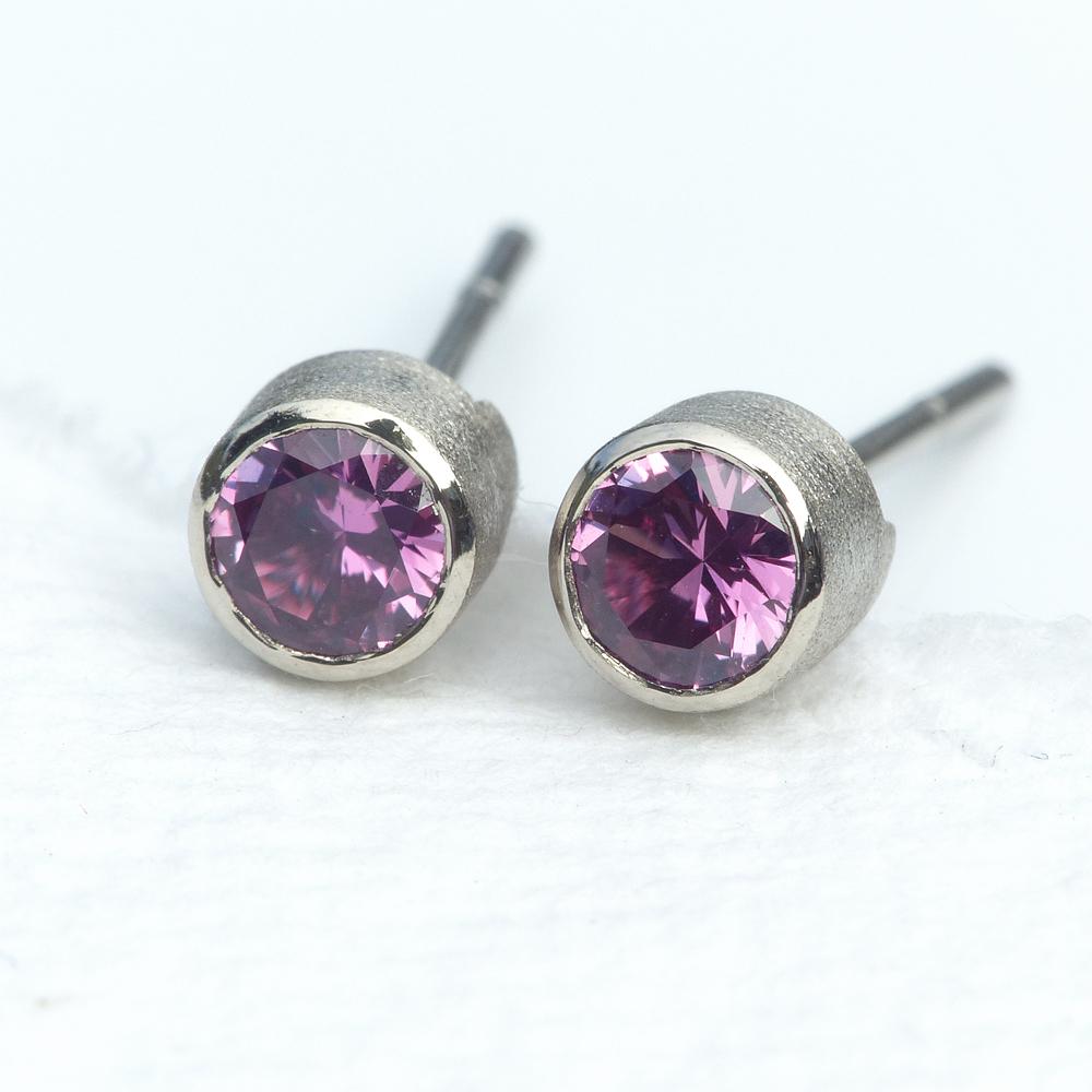 pink sapphire studs