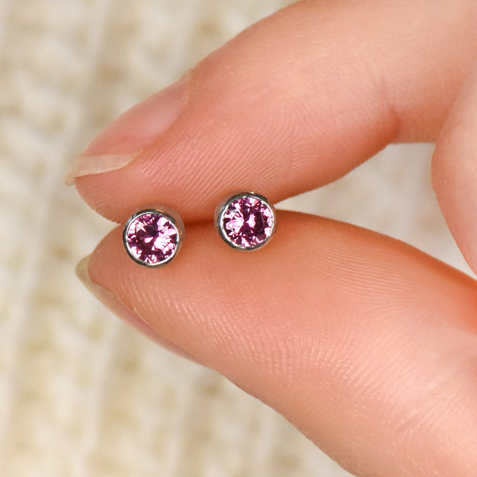 18ct White Gold Pink Sapphire Stud Earrings Lilia Nash