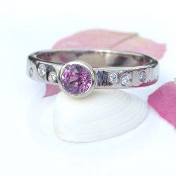 raspberry sapphire diamond ring