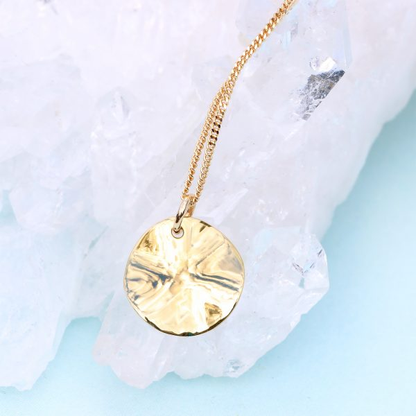 gold disc hammered pendant & chain