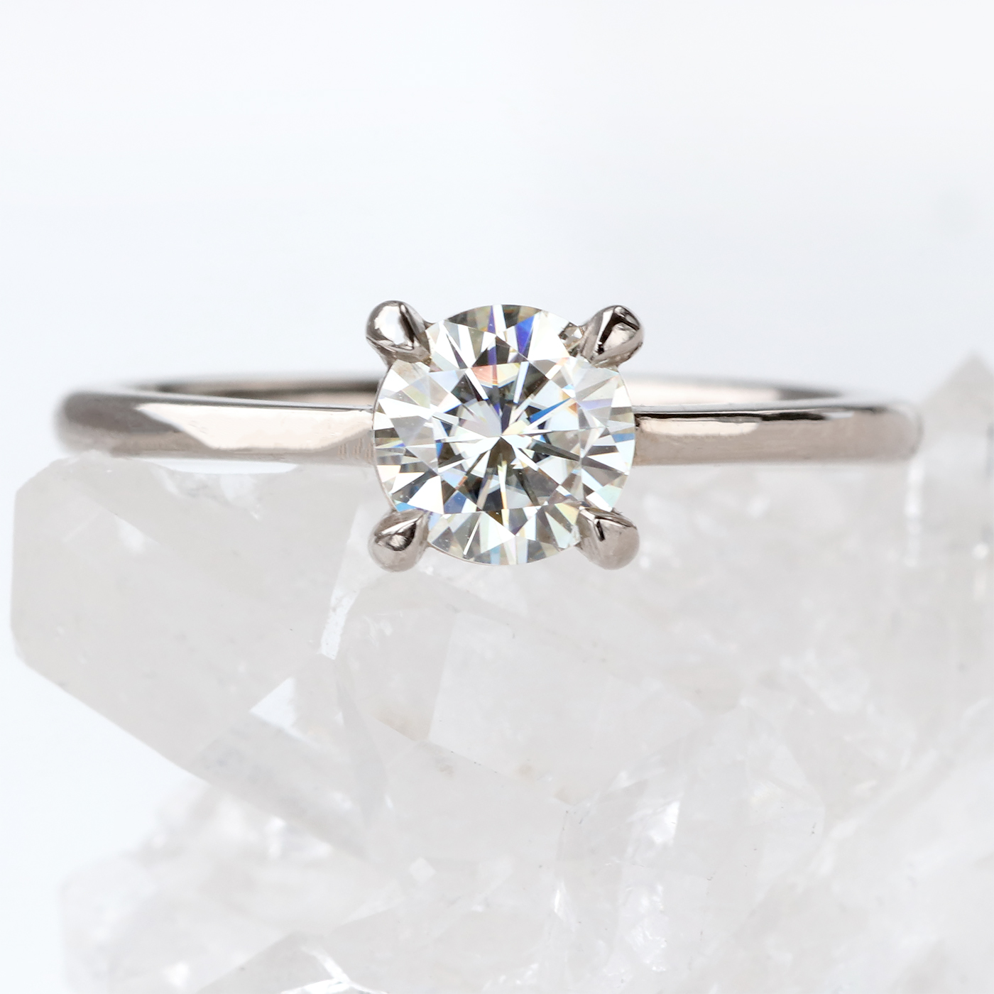 Engagement Rings With Moissanite: Moissanite Solitaire Engagement Ring (18ct Gold Or White