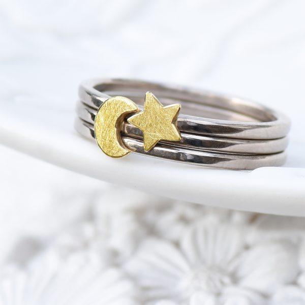 moon star ring set