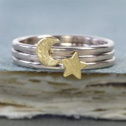moon and stars stacking ring set