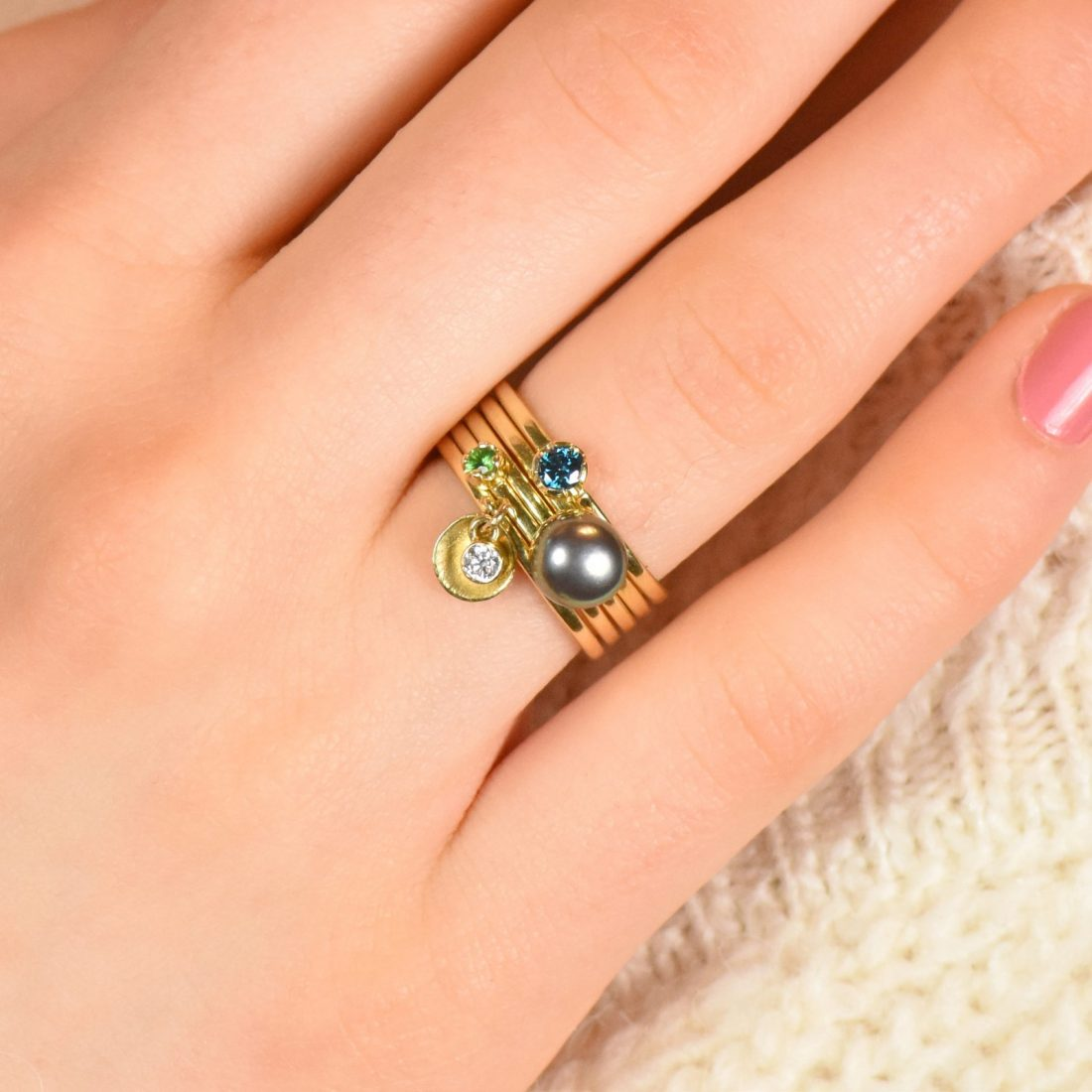 gemstone stacking ring set