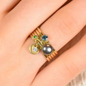 gemstone stacking ring set