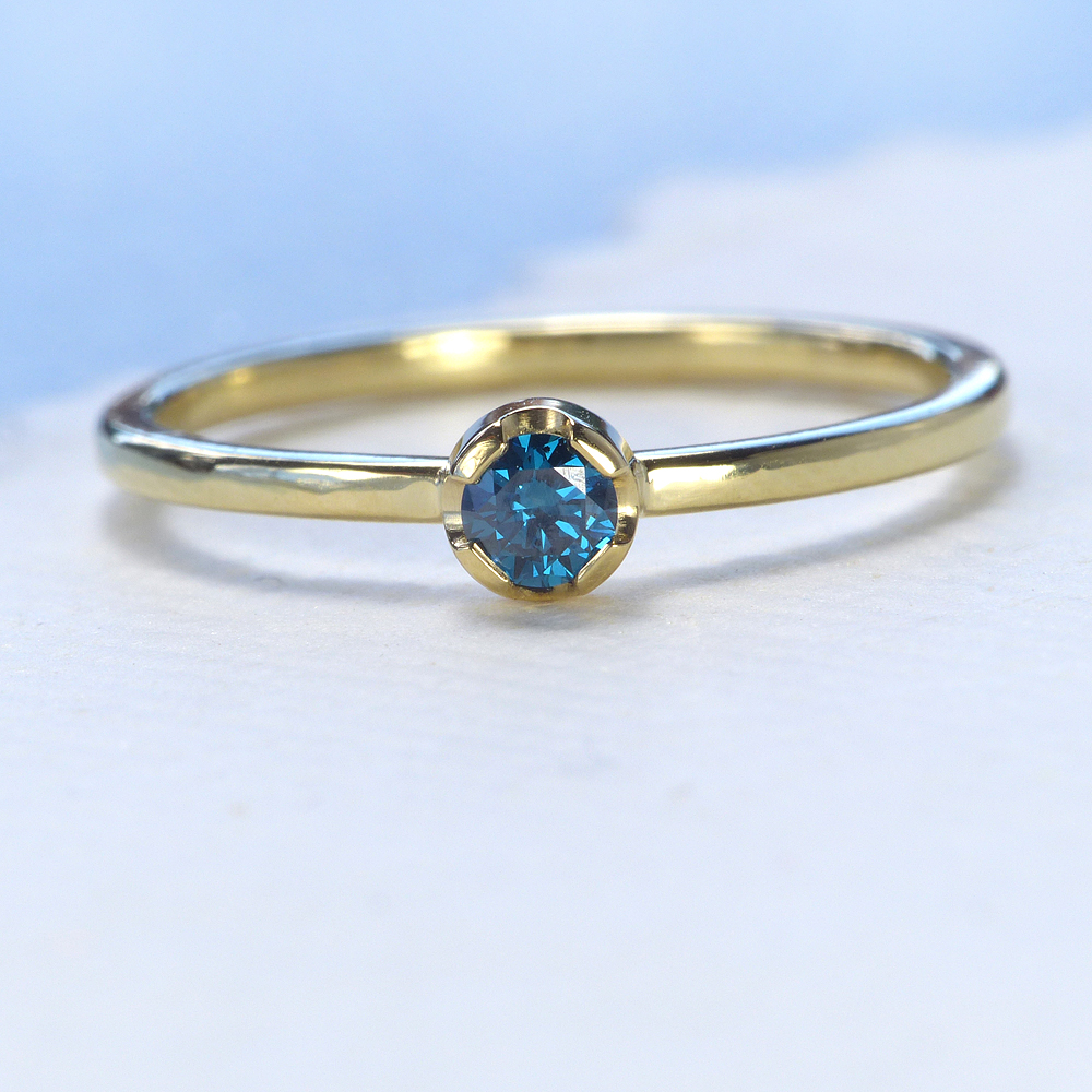 blue diamond stacking ring