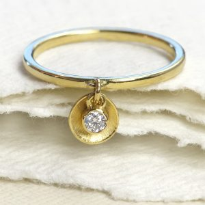 diamond petal charm stacking ring