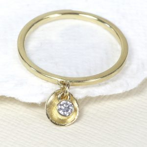 diamond petal charm stacking ring