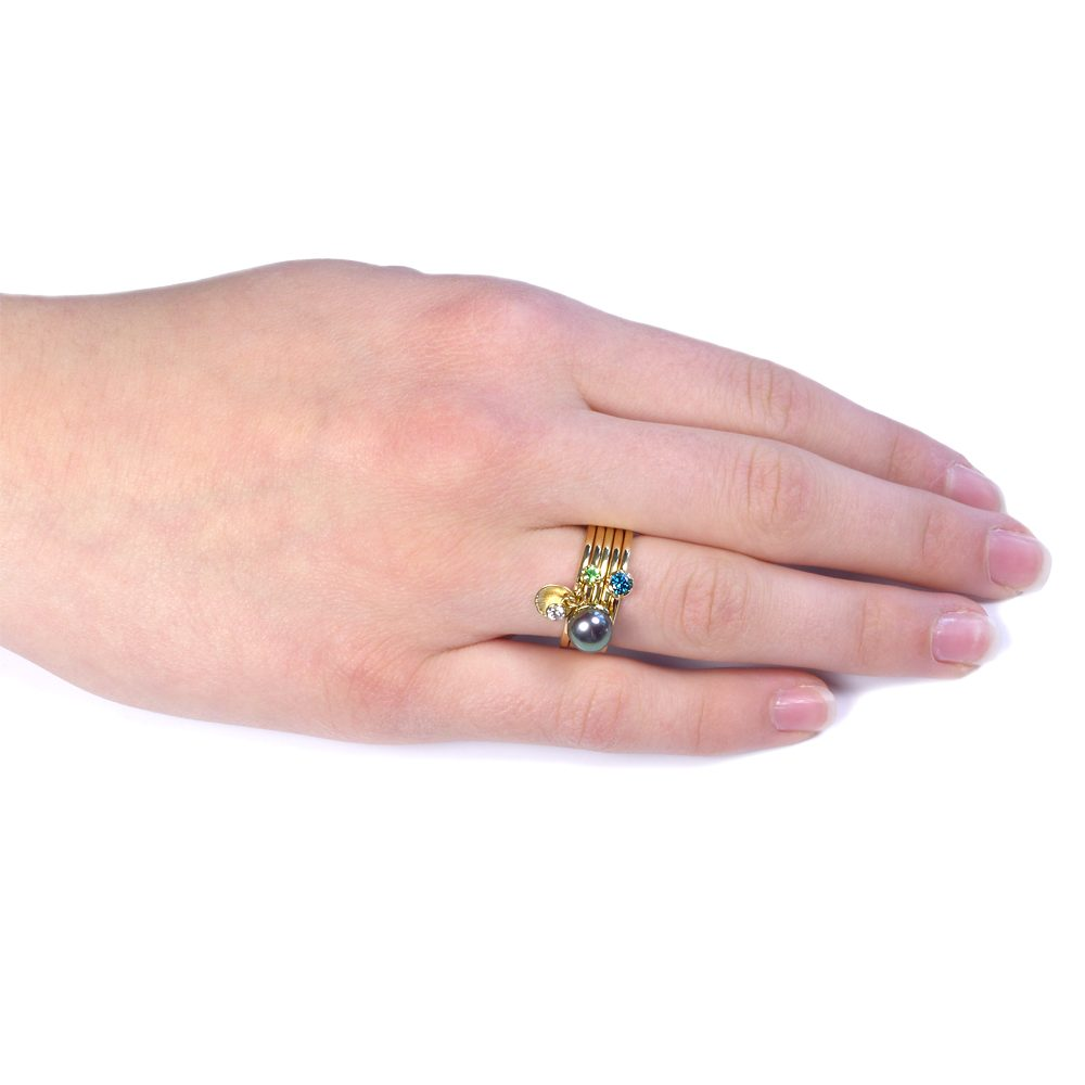 18ct Gold Square Ring - Lilia Nash Jewellery - Gold Stacking Rings