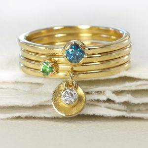 18ct gold stacking rings