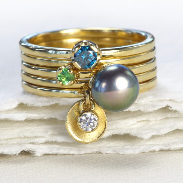 18ct gold stacking rings