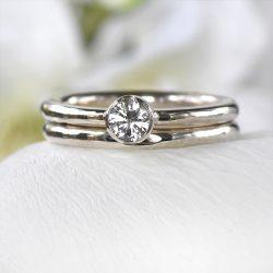white sapphire bridal set in silver