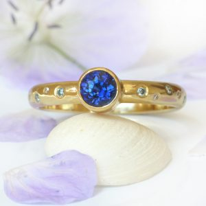 Royal Blue Sapphire and Diamond Ring in 18ct Gold